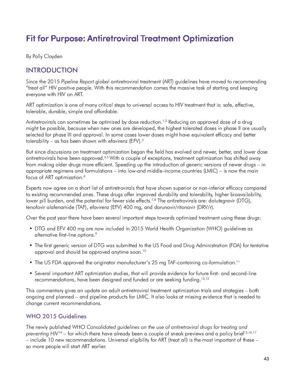 Fit for Purpose: Antiretroviral Treatment Optimization
