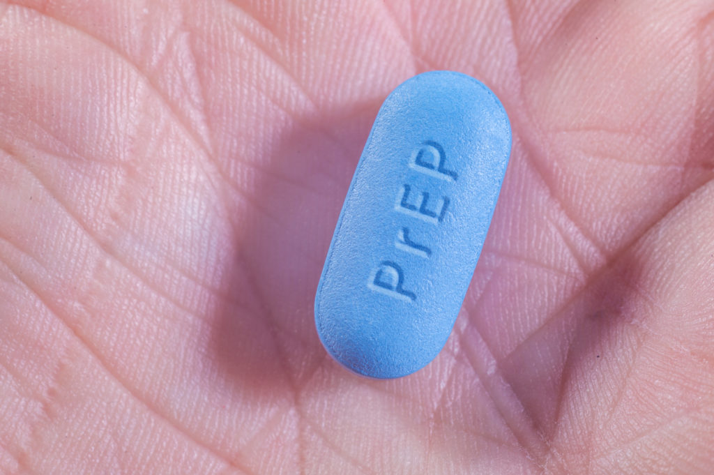 Pills for Pre-Exposure Prophylaxis (PrEP) to prevent HIV with PrEP acronym engraved