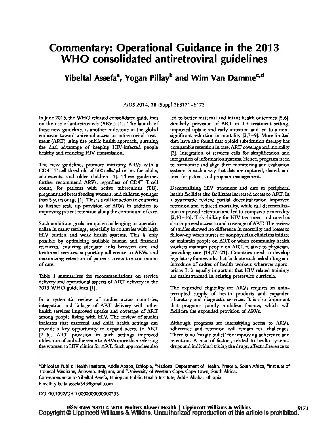 Commentary operational guidance in the 2013 WHO consolidated antiretroviral guidelines.