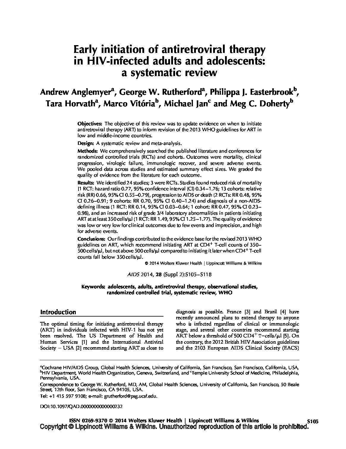 Early initiation of antiretroviral therapy in HIV-infected adults and adolescents a systematic review.