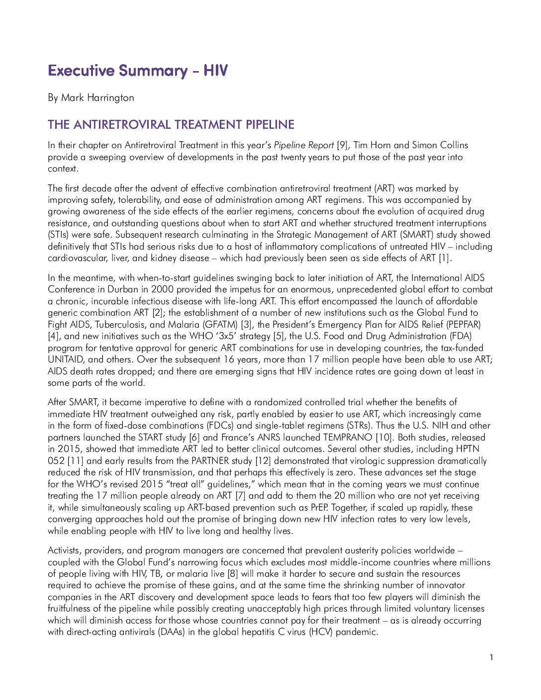 The Antiretroviral Pipeline. Executive Summary – HIV By Mark Harrington