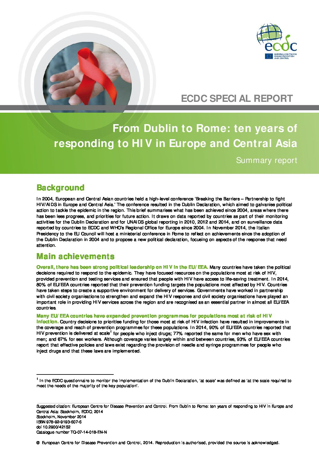 From Dublin to Rome: ten years of responding to HIV in Europe and Central Asia. Summary report