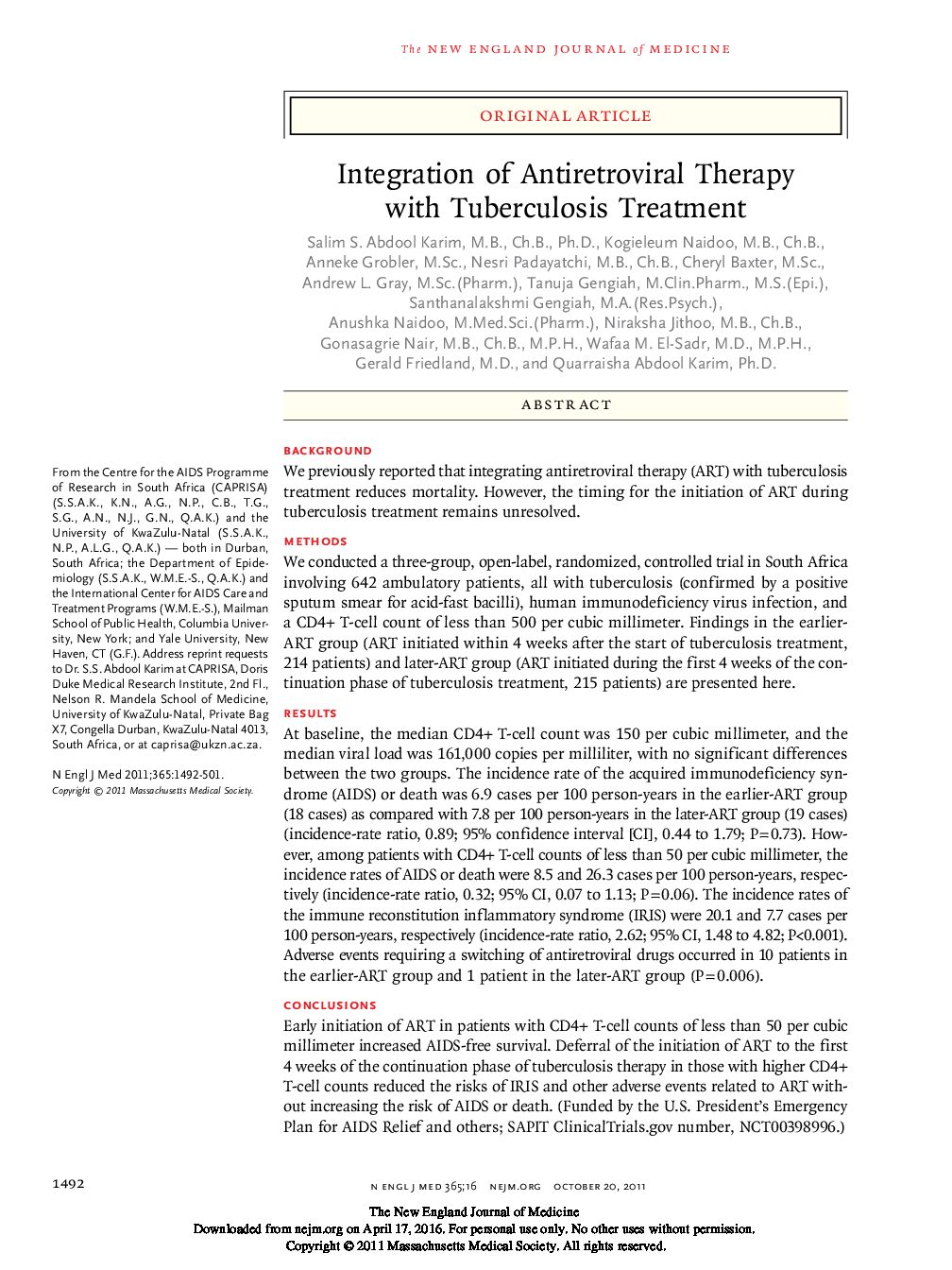 Integration of Antiretroviral Therapy with Tuberculosis Treatment