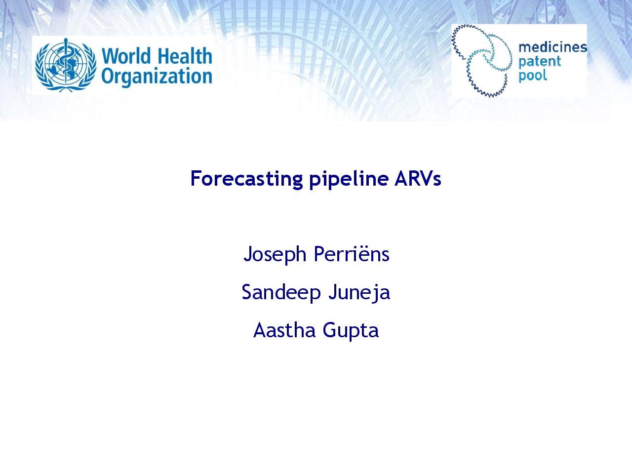 MPP forecasting model adults. Forecasting pipeline ARVs