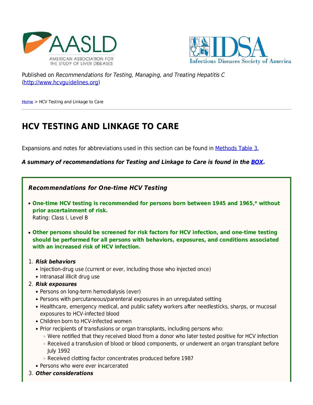 HCV testing and linkage to care