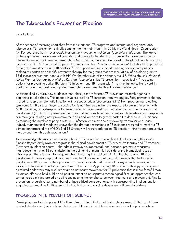 The Tuberculosis Prevention Pipeline