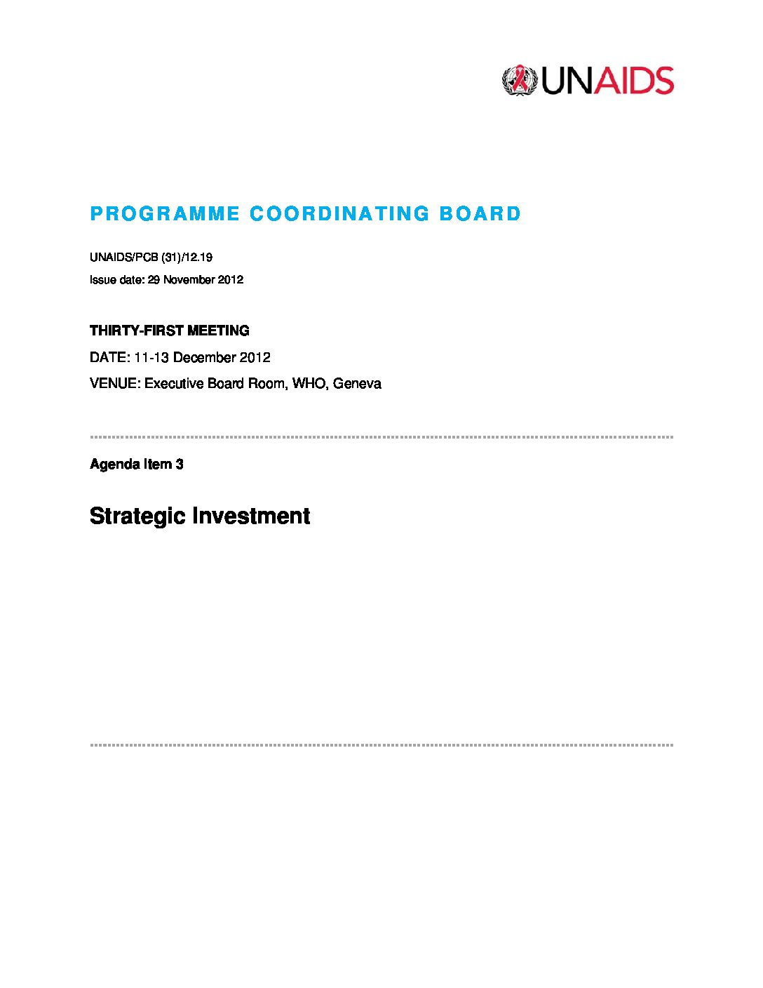 UNAIDS. Strategic investment.