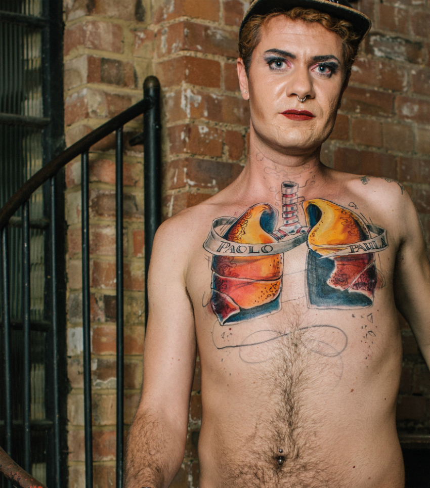 Paolo, 31, from Italy – Paolo's body art highlights healthy lungs (Photo: HIV is: Just a Part of Me)