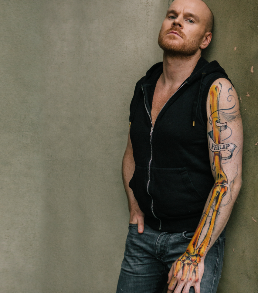 Philip, 32, UK – his body art highlights healthy bones (Photo: HIV is: Just a Part of Me)