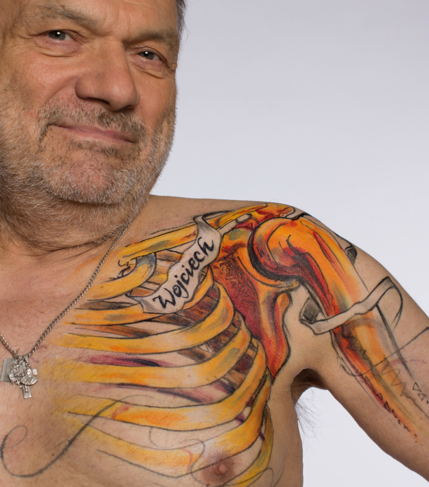 Wojciech, 71, from Poland – his body art healthy bones (Photo: HIV is: Just a Part of Me)