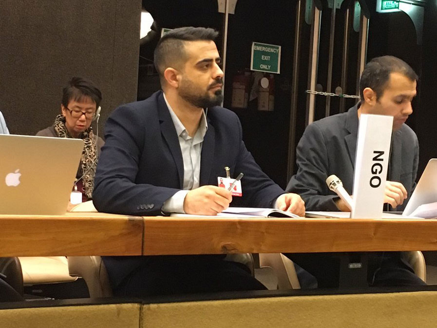 Haqqi Bahram spoke on behalf of NGOs on the 2nd day of formal consultation 3 for the Refugee Compact. Photo: NRV